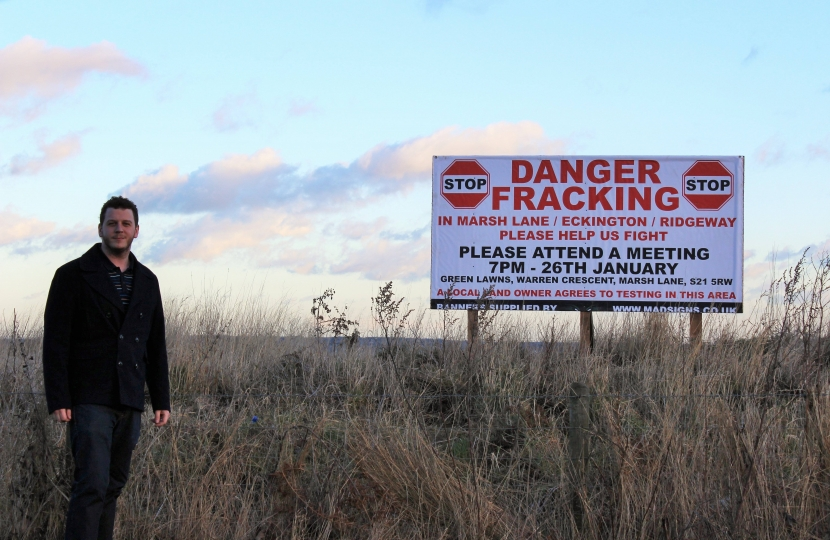 Cllr Alex Dale close to the proposed site for exploratory drilling at Bramleymoor Lane, Marsh Lane