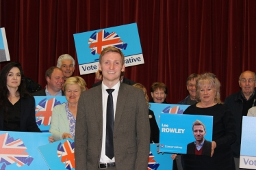 Lee Rowley surrounded by Conservative Party Members following his selection as Parliamentary Candidate for North East Derbyshire