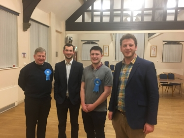 Josh Broadhurst (centre right) with his campaign team shortly after the declaration of the result.